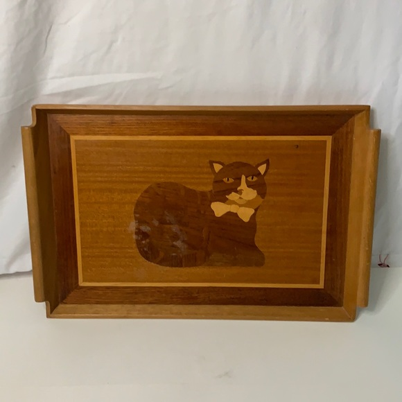 Vintage wooden Cat tray made in Philippines